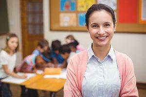 Happy child care worker