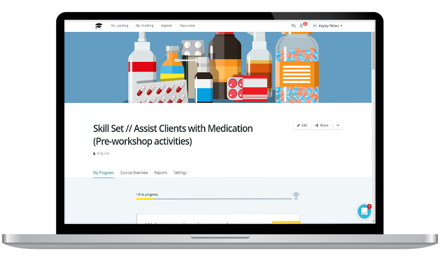 Assist clients with meds online
